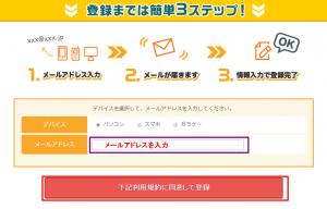 モッピーメールアドレス入力画面