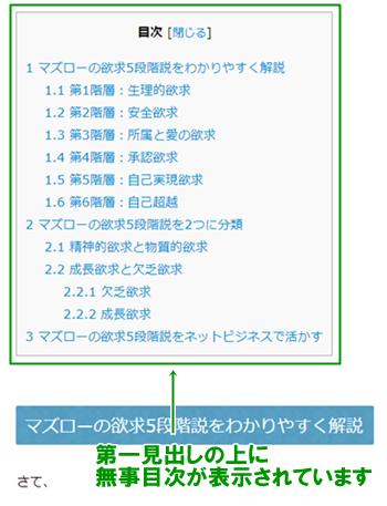 Table of Contents Plusが反映されている
