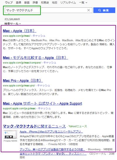 検索の仕方、NOT検索