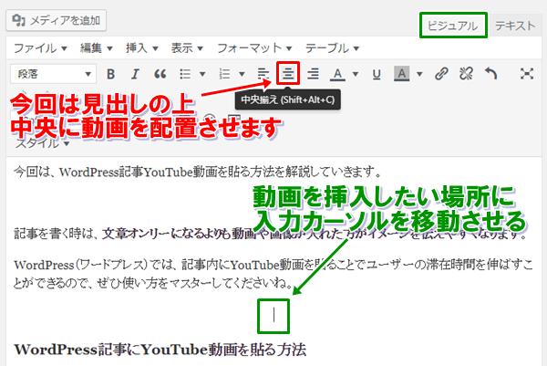 WordPress記事作成での動画の位置確認