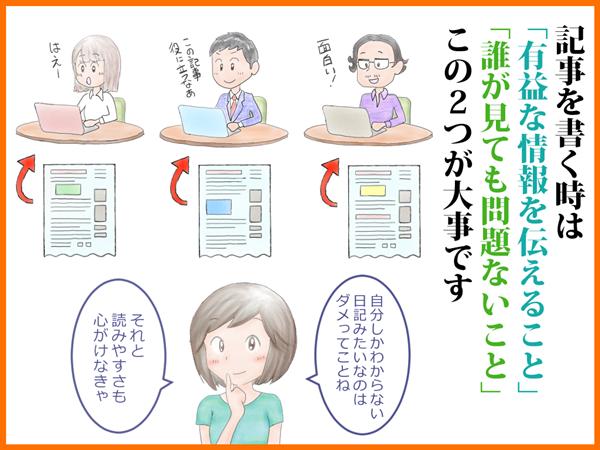 アドセンス審査用ブログの作り方を解説するイラスト