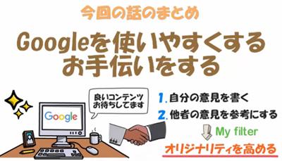 今回の話のまとめ、Googleを使いやすくするお手伝いをすることのイラスト
