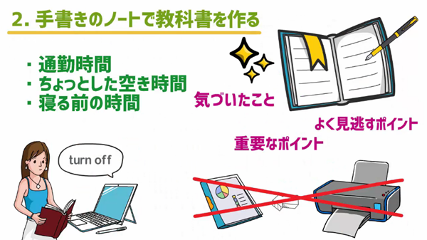 手書きのノートで教科書を作るメリットと注意点のイラスト
